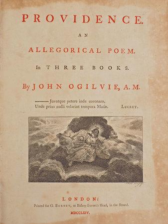 Providence. An allegorical Poem. In three Books... by OGILVIE, John.