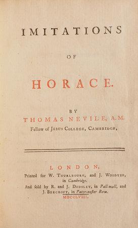Imitations of Horace... by NEVILE, Thomas.