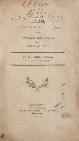 Poems, miscellaneous and humorous, with explanatory Notes and Observations... by NAIRNE, Edward.