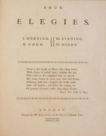 Four Elegies. I. Morning. II. Noon. III. Evening. IV. Night... by [PANTING, Stephen].