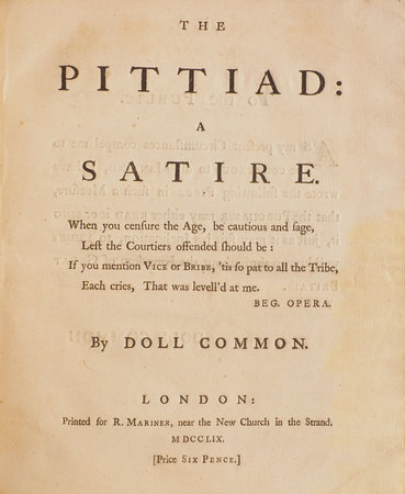 THE PITTIAD: a Satire... By Doll Common [pseud.]. by PITTIAD.