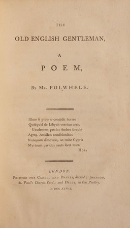 The old English Gentleman, a Poem... by POLWHELE, Richard.