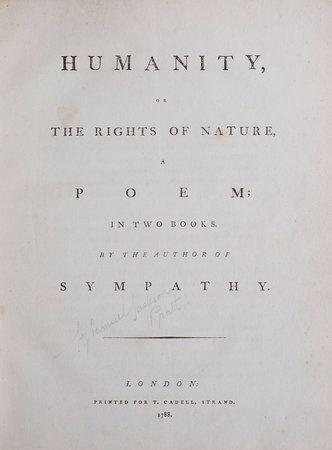 Humanity, or the Rights of Nature, a Poem. In two Books... by [PRATT, Samuel Jackson].