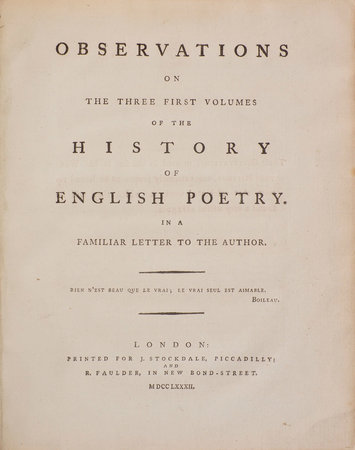 Observations on the Three First Volumes of the History of English Poetry. In a Familiar Letter to the Author... by [RITSON, Joseph].