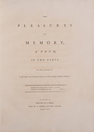 """The Pleasures of Memory, a Poem, in two Parts. By the Author of """"An Ode to Superstition, with some other Poems.""""... by [ROGERS, Samuel]."""