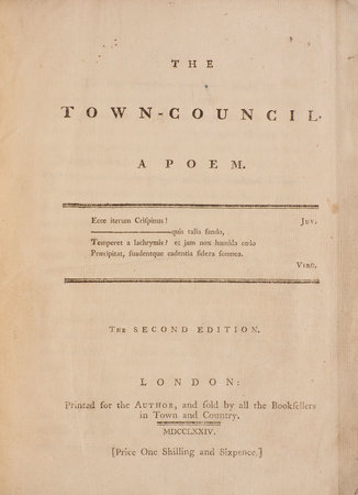 The Town-Council. A Poem... the Second Edition. by REGULUS, pseud.