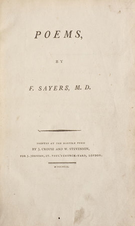 Poems, by F. Sayers, M.D. by SAYERS, Frank.