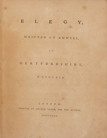 Elegy, written at Amwell, in Hertfordshire, MDCCLXIX. by SCOTT, John.