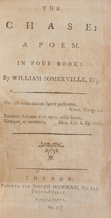 The Chase: a Poem. In Four Books... by SOMERVILLE, William.