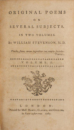 Original Poems on Several Subjects. In Two Volumes... by STEVENSON, William, M.D.
