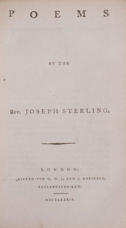 Poems by the Rev. Joseph Sterling. by STERLING, Joseph.