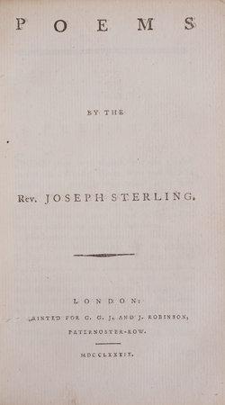 Poems by the Rev. Joseph Sterling. by STERLING, Joseph.