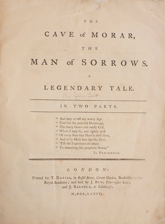 The Cave of Morar, the Man of Sorrows. A Legendary Tale. In Two Parts. by TAIT, John.