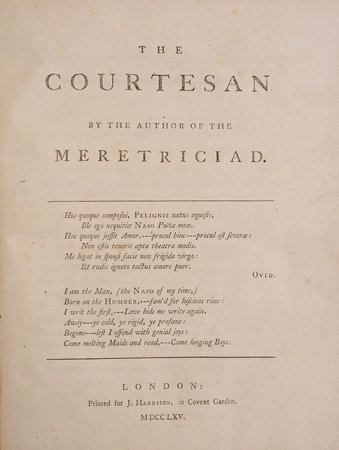 The Courtesan. By the Author of the Meretriciad. by THOMPSON, Edward.