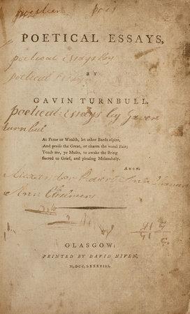 Poetical Essays. by TURNBULL, Gavin.