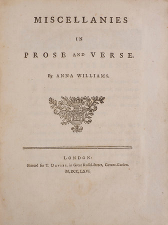 Miscellanies in Prose and Verse... by WILLIAMS, Anna.