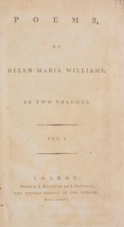 Poems... in Two Volumes. by WILLIAMS, Helen Maria.