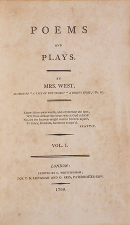 Poems and Plays... Vol. I [... II] [... III]. by WEST, [Jane].