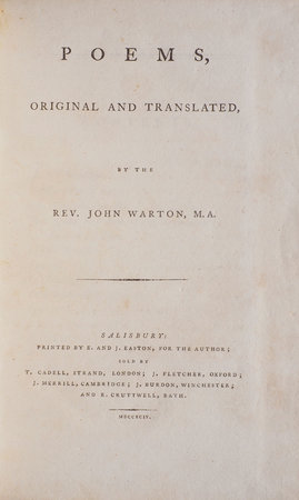Poems, Original and Translated, by the Rev. John Warton, M.A. by WARTON, John.