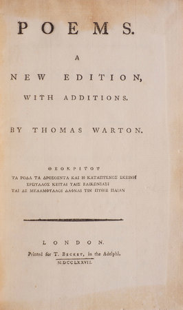 Poems. A New Edition with Additions... by WARTON, Thomas.