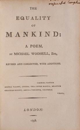 The Equality of Mankind: A Poem... revised and corrected, with additions. by WODHULL, Michael.