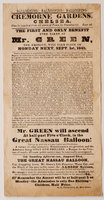 Ballooning! Ballooning! Ballooning! Cremorne Gardens, Chelsea... the first and only Benefit ever taken by Mr Green, the Aeronaut, will take place on Monday next Sept. 1st, 1845... Mr Green will ascend at half-past Five o'Clock, in the Great Nassau Balloon! by (AVIATION). (GREEN, Charles.)