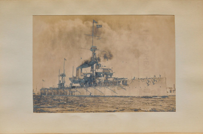 "Visit (By Command of His Majesty the King) of his Excellency the Prime Minister of Nepal to H.M.S. ""Dreadnought"", Friday, June 19th, 1908. by (DREADNOUGHT)."
