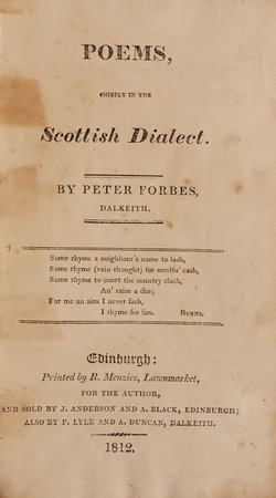 Poems chiefly in the Scottish Dialect by FORBES, Peter.