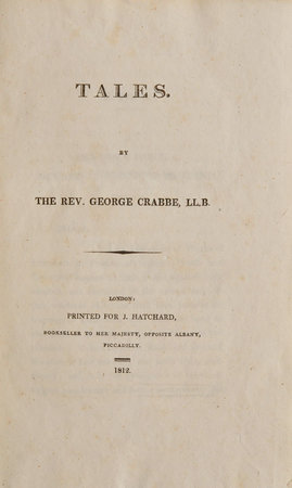 Tales. by CRABBE, George.