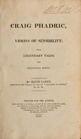 Craig Phadrig, Visions of Sensibility, with legendary Tales, and occasional Pieces, by CAREY, David.