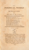 The Poetical Works... with the Life of the Author. by JONES, William, Sir.