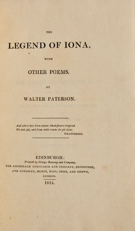 The Legend of Iona, with other Poems. by PATERSON, Walter.