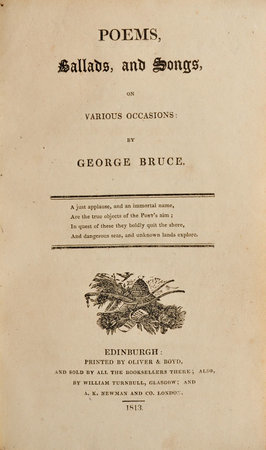 Poems, Ballads, and Songs, on various Occasions. by BRUCE, George.