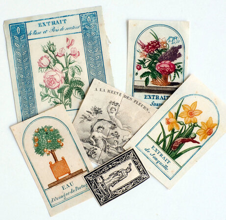 [Four colour printed perfume bottle labels. by (PERFUME).