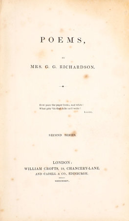 Poems …. Second Series. by RICHARDSON, Catherine Eliza.