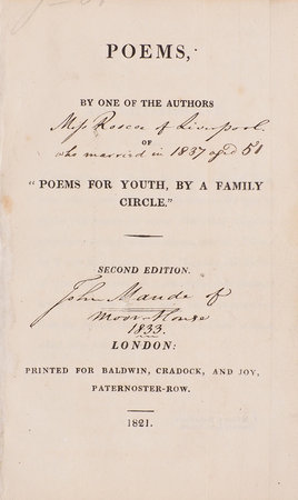 Poems, by one of the Authors of 'Poems for Youth, by a Family Circle.' Second Edition. by [ROSCOE, Jane Elizabeth].