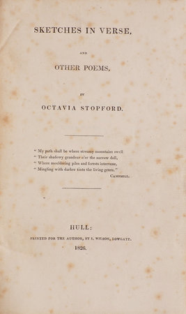 Sketches in Verse, and other Poems … by STOPFORD, Octavia.