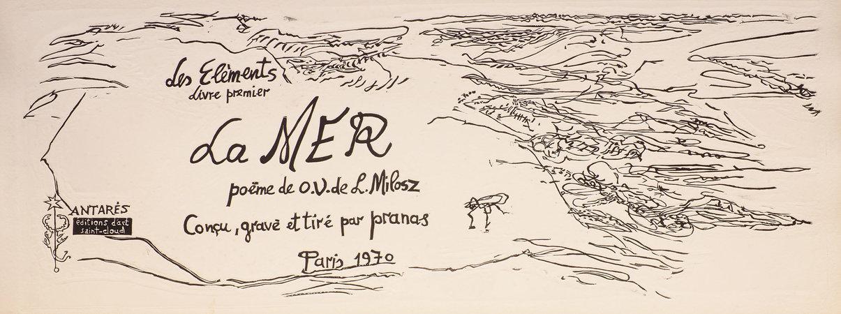 Les Elements: La Mer. by MILOSZ, [Oskar Wladisław de Lubicz]. PRANAS, Gailius. illustrator.