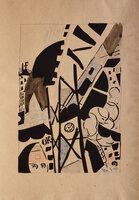 Dix Linogravures originales 1914-1920. by POUGNY, [Jean], illustrator. Jacques PRÉVERT, preface.