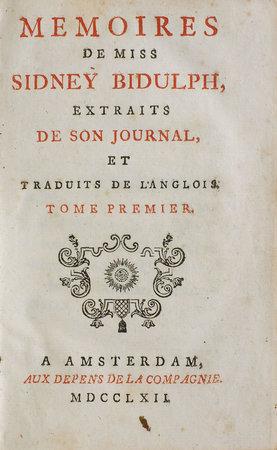 Memoires de Miss Sidney Bidulph, extraits de son journal, et traduits de l'anglois. by SHERIDAN, Frances. [Jean Baptiste René ROBINET, translator].