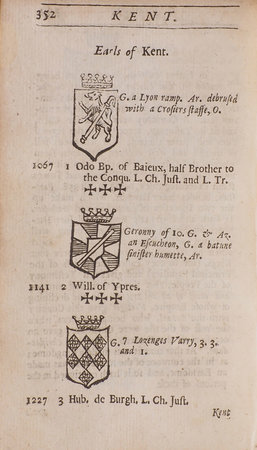 A Help to English History containing a Succession of all the Kings of England, the English Saxons, and the Britains; the Kings and Princes of Wales, the Kings and Lords of Man, the Isle of Wight. As also Of all the Dukes, Marquesses, Earls and Bishops thereof, with the Description of the Places from Whence they had their Titles. Together with the Names, and Ranks of the Viscounts, Barons and Baronets of England... continued to this present year 1675 with the Coats of Arms of the Nobility, Blazon'd. by HEYLYN, [Peter].