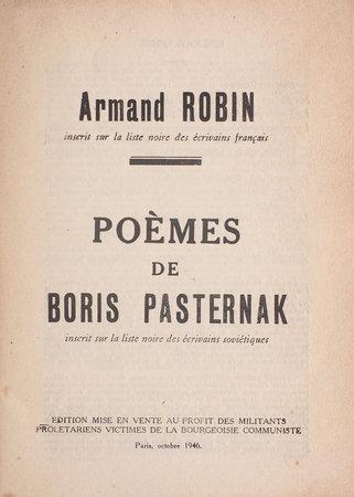 Poèmes de Boris Pasternak. by PASTERNAK, Boris. Armand ROBIN, translator.