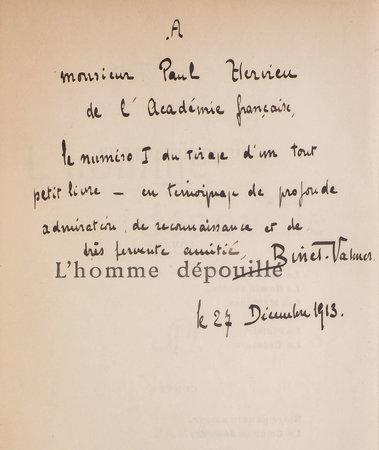 L'Homme dépouillé. by BINET-VALMER. [Jean-Auguste-Gustave-Binet].
