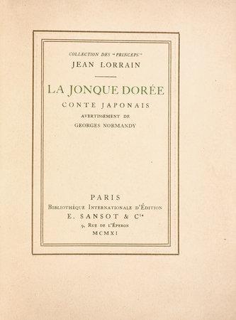 La Jonque dorée conte Japonais. by LORRAIN, Jean. Georges NORMANDY, advertisement.
