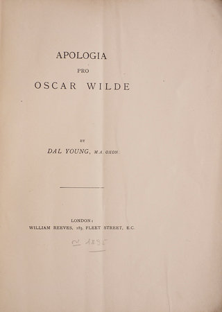 Apologia pro Oscar Wilde. by (WILDE). YOUNG, Dalhousie.