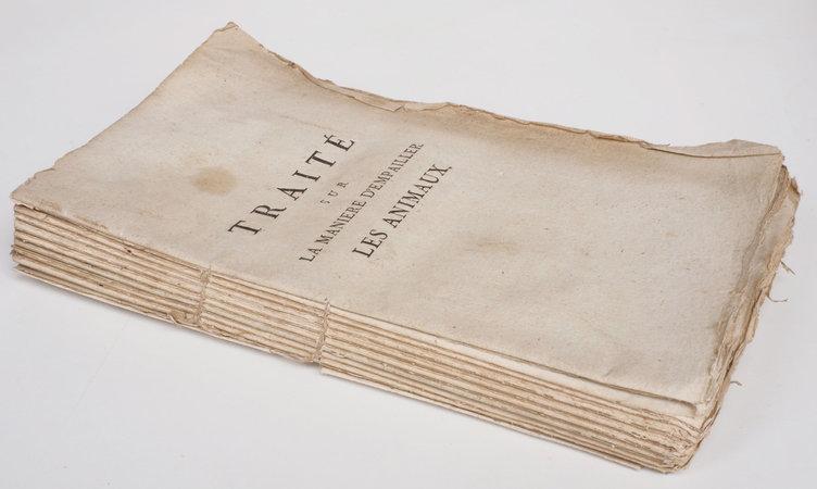 Traité sur la manière d'empailler et de conserver les animaux, les pelleteries et les laines. by (TAXIDERMY). MANESSE, Denis-Joseph, abbé.