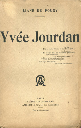 Yvée Jourdan. by POUGY, Liane de.