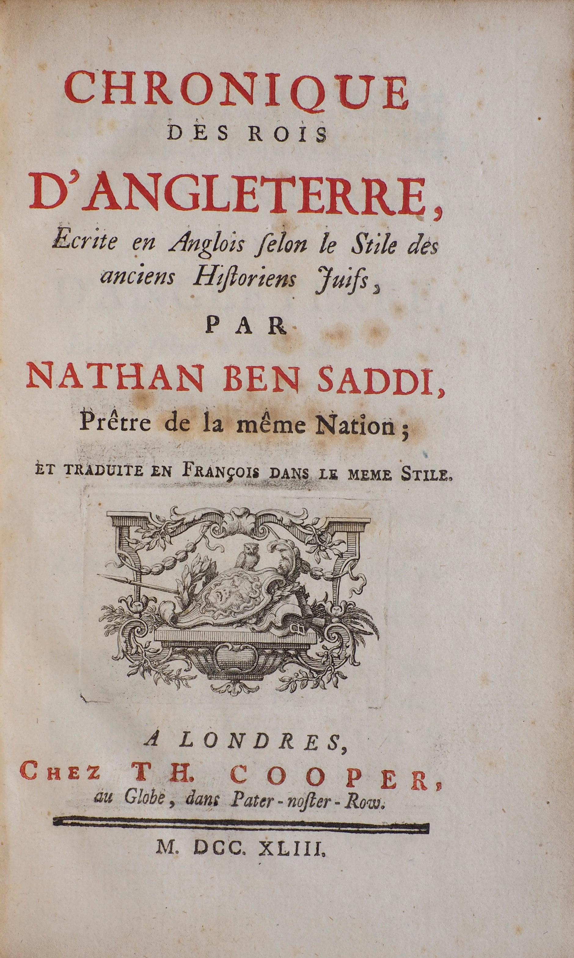 Anglois chronique des rois d'angleterre, ecrite en anglois selon le stile… - justin  croft