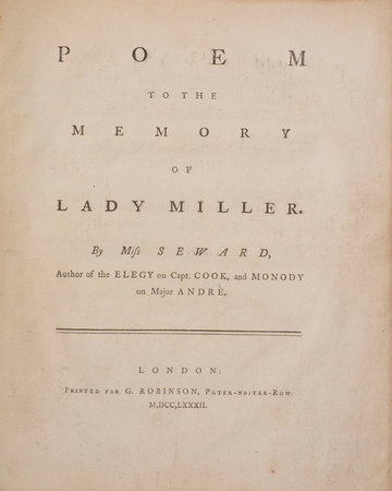 Poem to the Memory of Lady Miller … by SEWARD, Anna.