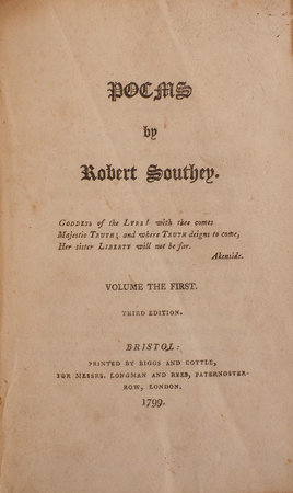 Poems. by SOUTHEY, Robert.